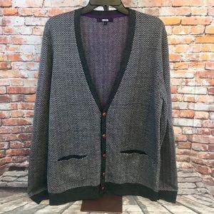 ASOS Gray Purple Plaid Wool Blend Button Sweater